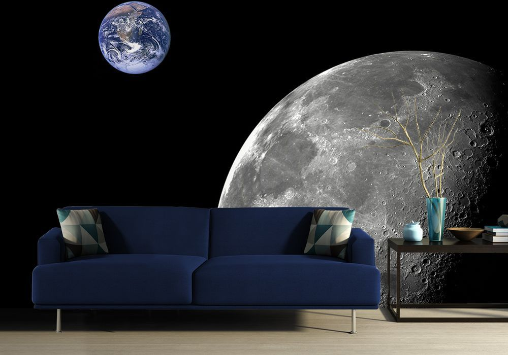 Wall Mural Wallpaper Moon And Earth Quot Cosmos Quot Photo Wall